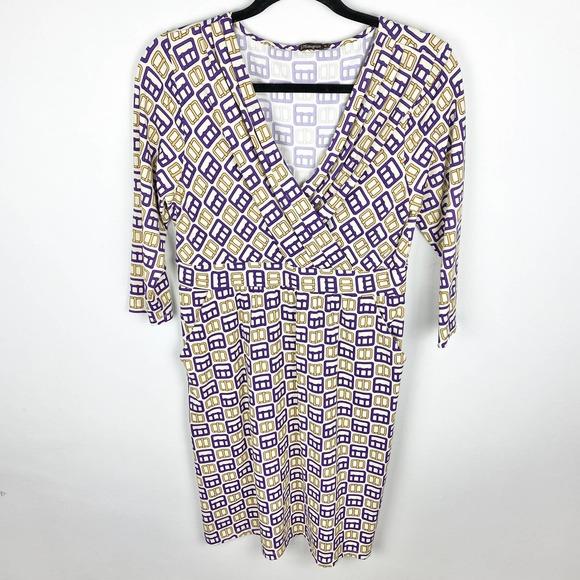 J. McLaughlin Faux Wrap Stretch Midi Dress